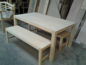 Idigbo dining table and benches